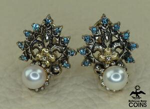 Barbara Bixby Art Deco 18k Yellow-Gold & Sterling Silver Pearl & Quartz Earrings