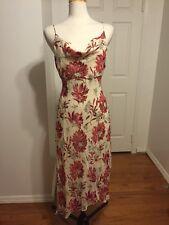 NWOT Ann Taylor 100% Silk Beige + Red Floral Dress Size 12