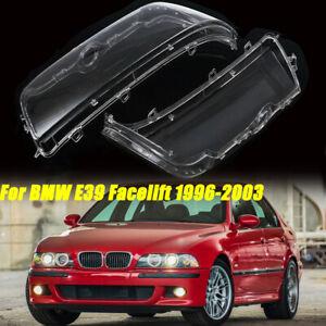 2X Clear Headlight Headlamp Lens Covers For BMW E39 Facelift 1996-2003 525i 528i