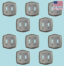 """10 Switchplate Chrome 5 1/4"""" H Braided Double Toggle 