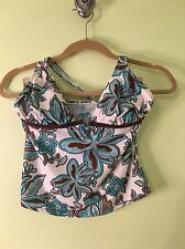 Daisy Fuentes size 10 Teal white brown paisley halter top only Tankini  keyhole