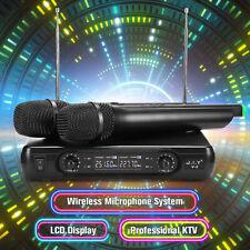 2X Wireless Microphone Cordless Handheld Mic Karaoke KTV DJ Speaker 2 Channel