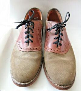 Mens LL Bean Suede Leather Oxfords Vibram Sole Brown Chestnut Shoes SZ 9 EUC