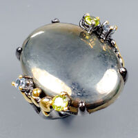 Handmade Natural Pyrite 925 Sterling Silver Ring Size 7.5/R124889