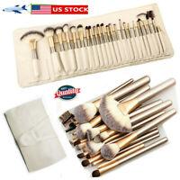 24PCS Professional Make up Brushes Set Cosmetic Tool Kabuki Makeup+ Luxury Bag
