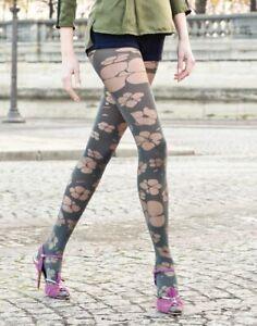 Collant GASPARD YURKIEVICH TOTALLY FLEUR Acier ou Pétrole. GERBE fashion tights.