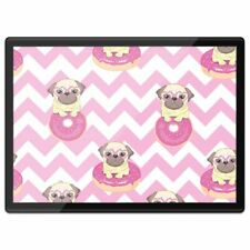 Quickmat Plastic Placemat A3 - Pink Stripe Pug Dog Donut Art  #16820