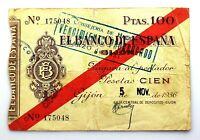 Spain-GUERRA CIVIL. Billete. 100 pesetas 1936. Banco de España. Gijón.