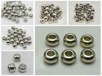 Silver Tone Metallic Acrylic Round Pony Beads Big Hole Spacer Pick Your Size