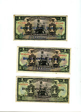 3 Circulated 1911 Banco Central de Bolivia 1 Boliviana Banknotes
