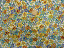 Quilting Fabric Small Flowers Blue Yellow Gold Met Fat Quarters 100% Cotton