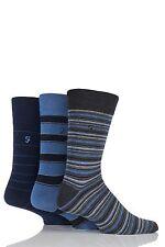 Mens 3 Pair Farah Classic Mixed Stripe Socks 6-11 Mens Blue