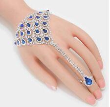 Royal Blue Crystal Rhinestone Wedding Formal Slave Hand Chain Ring Bracelet