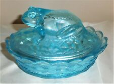 Unusual Vintage Fenton Art Glass for L.G. Wright Aqua Blue Frog On Nest