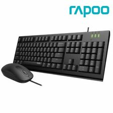 Rapoo Wired Membrane Keyboard and Mouse Combo 1600 DPI Spill-Resistant Black