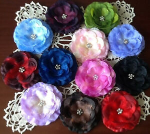 SHIMMERING FLOWER HAIR BOWS W/CLEAR STONES ON CLIP, 3 1/4 INCH FLOWER, GORGEOUS