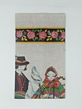Vintage Polish Folk Linen Towel Wall Hanging Hand Printed New Old Stock