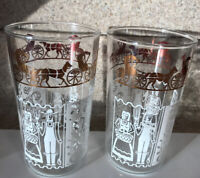 """2 Vintage Anchor Hocking Glasses Amish Farmer Wife Horse Buggy White & Gold 5"""""""