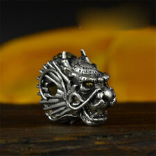 925 Sterling Silver Dragon Head Bracelet Necklace Connector Charm Beads Gift