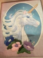 Vintage Finished Crewel Embroidery Fantasy Unicorn Framed 9x11