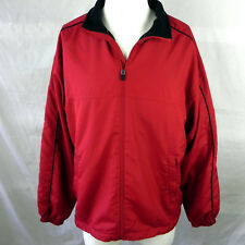 Tommy Hilfiger Golf Jacket Large Full Zipper Red Blue Polyester Lined Coat
