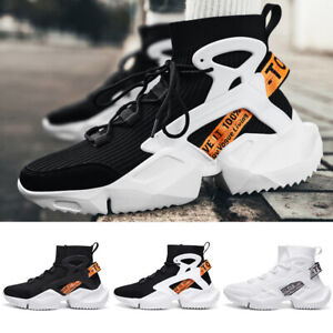 Men's Fashion Sneakers Outdoor Sports Running Tennis High Top Casual Shoes Black