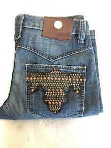 NWT Men's ANTIK Denim *BOOTCUT Jeans Med Blue W Rivets & Studs Sizse: 32 & 33