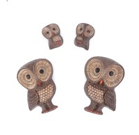Vintage 70s Mid Century Modern MCM Set of 4 Owl Hanging Wall Statues Figurines