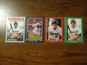 Mike Trout 4 Card Set 2010 Minor League Cedar Rapids Kernels Rookie Cards