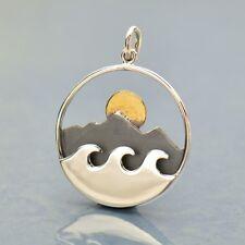 Sterling Silver Mountain Ocean Pendant Bronze Sun Necklace Travel Adventure 3192