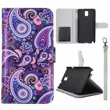 For Samsung Galaxy Note 3 N9000 Sk Wallet Purple Paisley Cover Uni  Case Leather