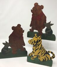 Antique Winnie the Pooh Tigger Piglet Bookends Wood OOAK Handmade VTG