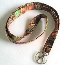 "Fabric Lanyard ID Badge Key Holder Handmade 21"" x 3/4"" Cotton Bottle Caps Tops"