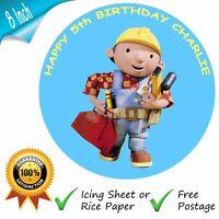 BOB THE BUILDER EDIBLE ROUND PRINTED BIRTHDAY CAKE TOPPER DECORATION