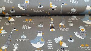 Baumwollstoff - Vögel Maritim - Popeline Baumwolle Webware 9,00 €/m