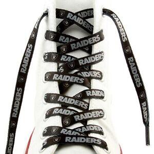 """Las Vegas Raiders Shoe Laces Strings NFL Team Colors 54"""" One Pair Lace Ups"""