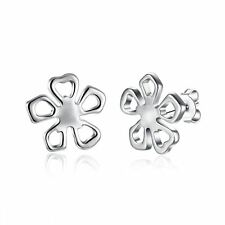 925 Silver Plt Hollow Daisy Flower Stud Earrings Poppy Petals Lucky Clover A