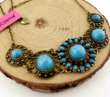 Jewelry Betsey Johnson Pendant blue Turquoise Flower Bohemia Chain necklace gift