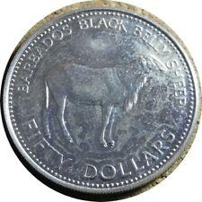 elf Barbados 50 Dollars 1981 FAO World Food Day Silver Black Belly Sheep