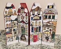 Vintage Christmas Hinged Foldable Wood Panel Decoration Victorian Village Style
