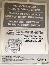 KUBOTA DIESEL ENGINE OPERATORS MANUAL D905 V1205 V1505-EBG FOR GENERATOR INC VAT