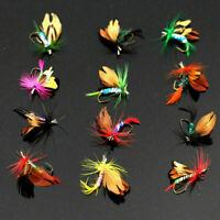 12 Teile / los Nass Trockenforelle Fliegen Fliegenfischen Bass St Lure K2G4 A8Q1