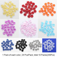 240Pcs 11.5mm Resin Colorful Shell Round Buttons 4 Holes For DIY Sewing Craft g
