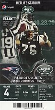 2013 NEW YORK JETS VS NEW ENGLAND PATRIOTS TICKET STUB 10/20/13 JUMBO ELLIOTT