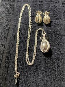 Joan Rivers Silvertone Egg Pendant Necklace and Earrings Set