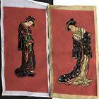Pair Vintage Preworked Geisha Women Pink Backgrounds Needlepoint Canvas