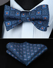 BC710BS  Blue Plaids Checks Bowtie Men  Silk  Self  Bow Tie handkerchief set