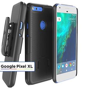 Google Pixel XL Belt Clip Case, Thin Secure-fit Cover w/ ClikLock Holster Black