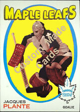 Custom made Topps 1971-72 Toronto Maple Leafs Jacques Plante hockey card white