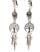 Long Silver Tree of Life Clip-On Earrings Athame Agate Witch Pagan Wiccan Boho